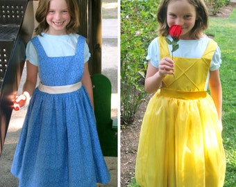 Belle Inspired Reversible Dress - Ella Dress collection - Girls Sizes 2-6X Play Dress or Costume