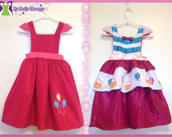 Pinkie Pie Inspired Reversible Dress - Ella Dress collection - Girls Sizes 2-6X Play Dress or Costume
