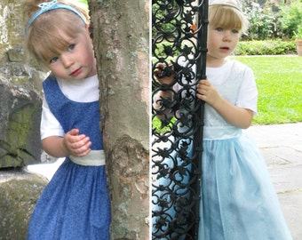 Cinderella Inspired Reversible Dress - Ella Dress collection - Girls Sizes 2-6X Play Dress or Costume