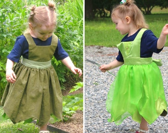 Tinkerbell / Peter Pan Inspired Reversible Dress - Ella Dress collection - Girls Sizes 2-6X Play Dress or Costume