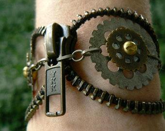 Steampunk Owl Zipper Cuff Bracelet