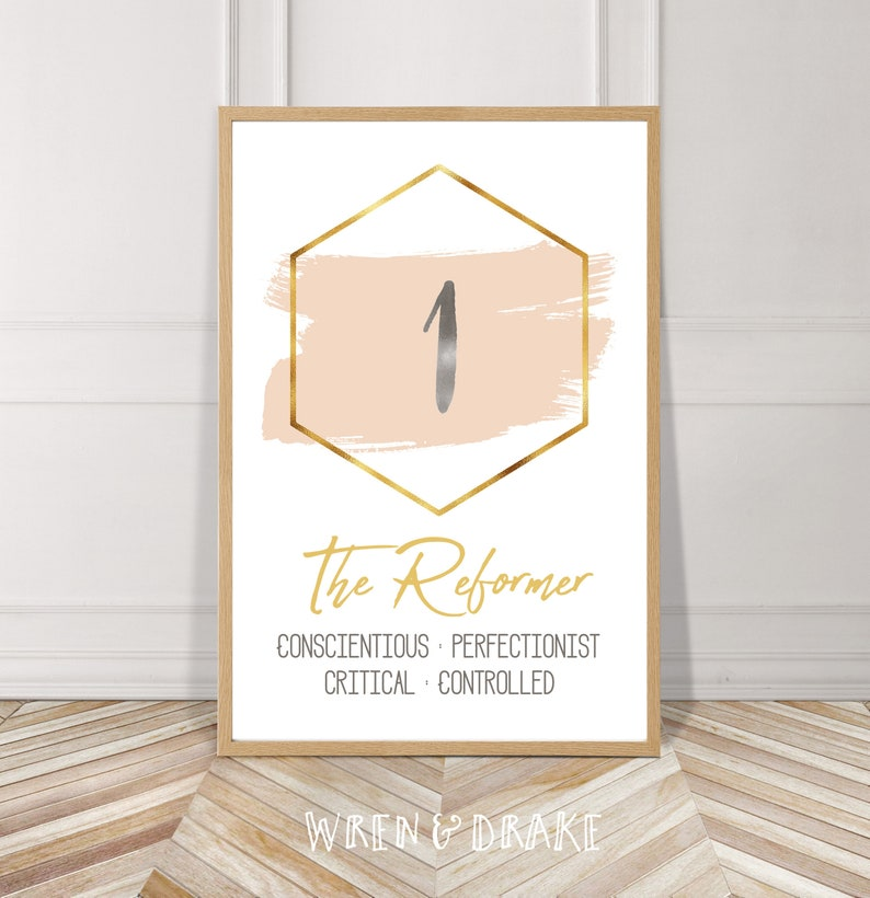photograph relating to Printable Enneagram Test titled Enneagram, Fashion 1, The Reformer, Watercolor, Printable, Electronic Document, Fast Obtain, Gold, Blush, Minimalist, Wall Artwork, House, Decor, Mod