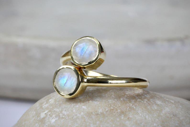 Moonstone ring,June birthstone ring,gold ring,multistone ring,gold stacking ring,gemstone ring,double stone ring