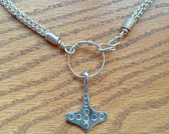 Norwegian Thor's Hammer on a Viking Wire Weaving Necklace, Mjolnir