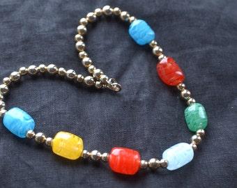 Colored Filigrana Glass Bead Necklace