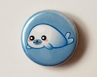 Kawaii mamegoma jewelry Seal baby pin brooch of polymer clay Cute animal pins Lavender cute brooches Baby sea lion