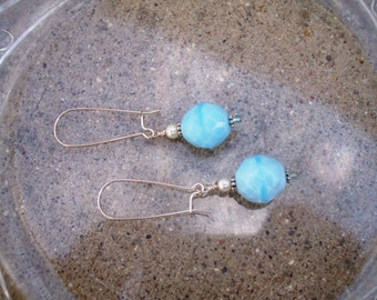 Glass Beaded Earrings - Baby Blues (GE243)