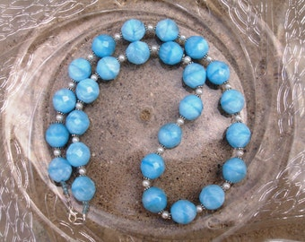 Glass Beaded Necklace - Baby Blues (N232)