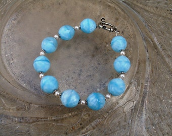 Glass Beaded Bracelet - Baby Blues (B240)