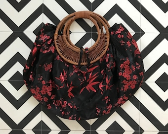 Lovely Brocade Purse with Braided Wooden Handles