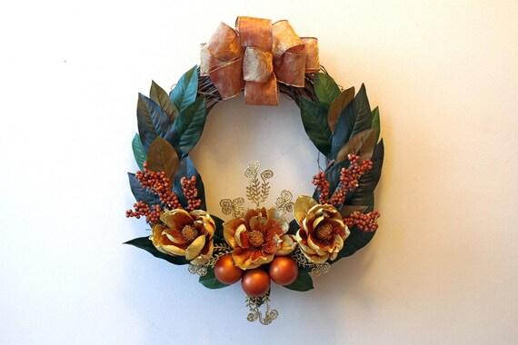 Christmas Magnolia Leaf Wreath Gold Rust Flowers Glitter Etsy