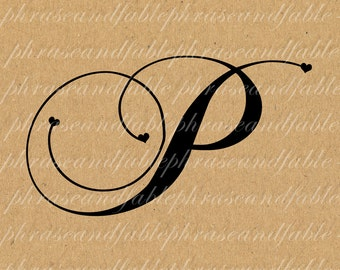 Letter P Hearts 286 Digital Download Alphabet Initial Name Glyph Character Font Typography Clip Art