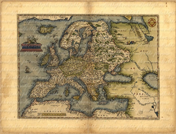 Map Of Europe In The 1500s.Old Map Of Europe From 1500s 081 Ancient Old World Cartography Etsy