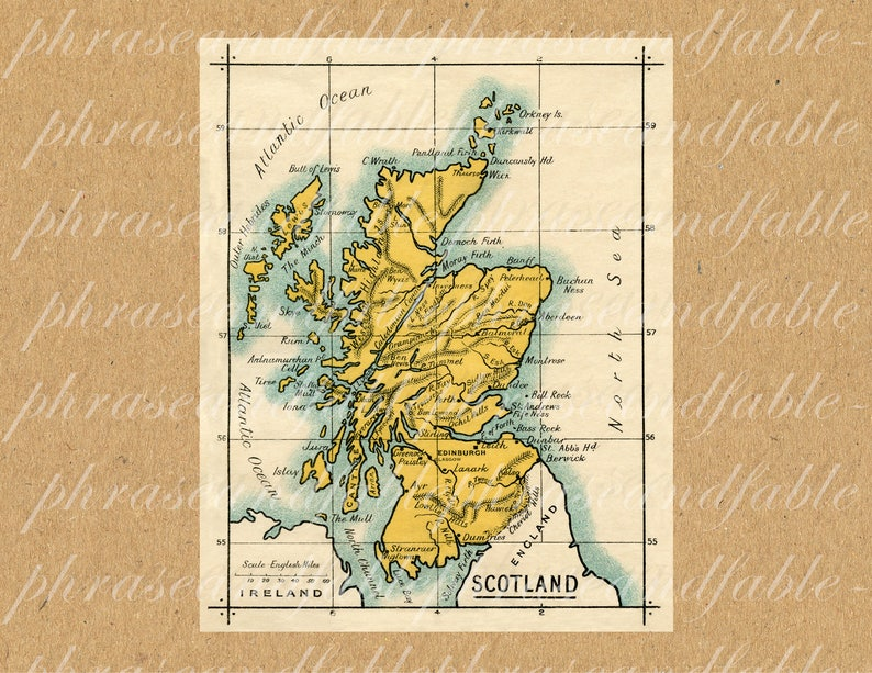 Map Of Just England.Map Of Scotland 361 England Ancient Old World Cartography United Kingdom Digital Image Download Geography Celtic Scottish Scots Gaelic