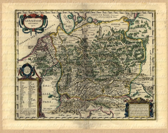 Map Of Germany From The 1500s Germany Berlin Ancient Old World Etsy