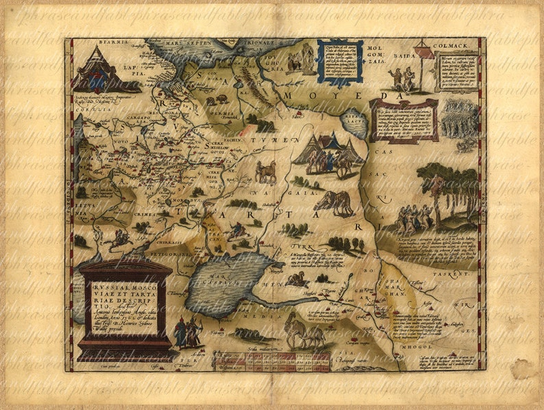 Map Of Russian Federation From The 1500s 094 Russia Ancient Etsy