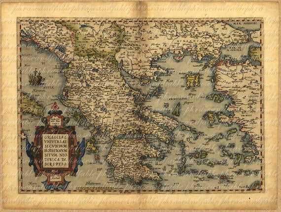 Map of greece from 1500s ancient old world cartography etsy image 0 gumiabroncs Images