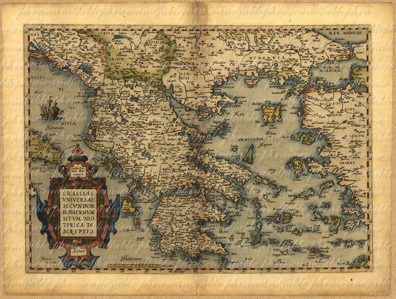 Map Of Greece From 1500s Ancient Old World Cartography Etsy