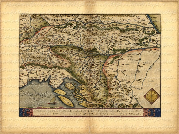 Map Of The Balkans From 1500s 107 Ancient Old World Map Etsy