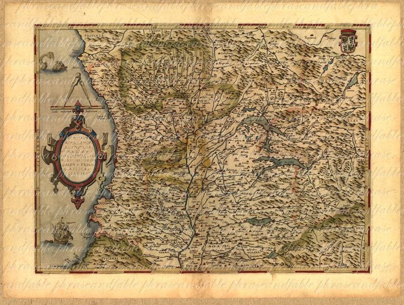 Map Of North West Italy.Map Of Northwest Italy 154 Genoa Lago Major Lago Como Milan Etsy