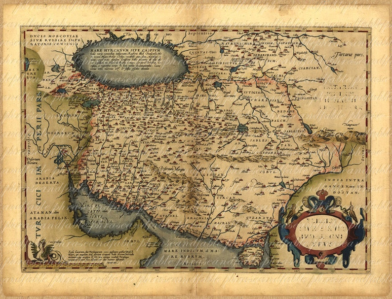 Map Of Persia From The 1500s 100 Ancient Old World Map Etsy