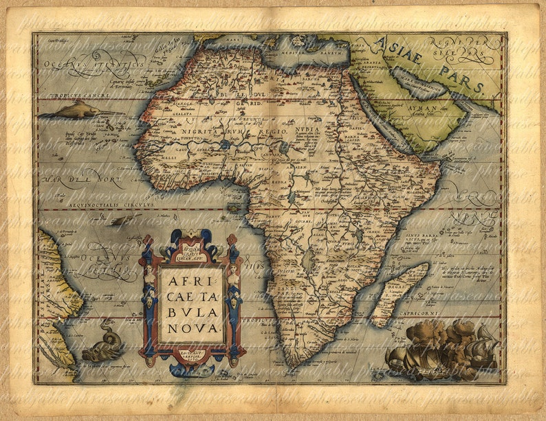 Map Of Africa From The 1500s 034 Ancient Old World Cartography Etsy