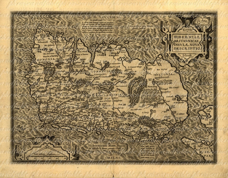 Ancient Map Of Ireland.Map Of Ireland From The 1500s 035 Ancient Old World Cartography Exploring Sailing Vintage Digital Image Download