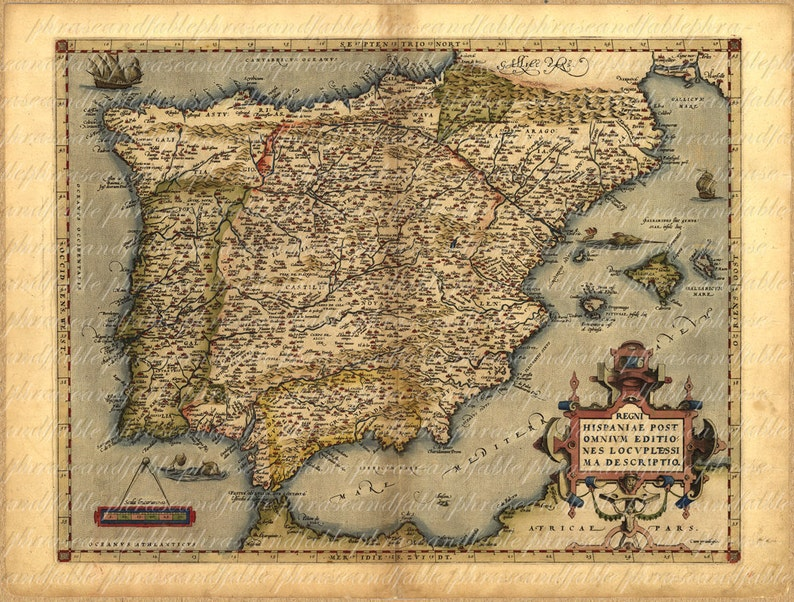 Map Of Spain From The 1500s 042 Madrid Old World Cartography Etsy