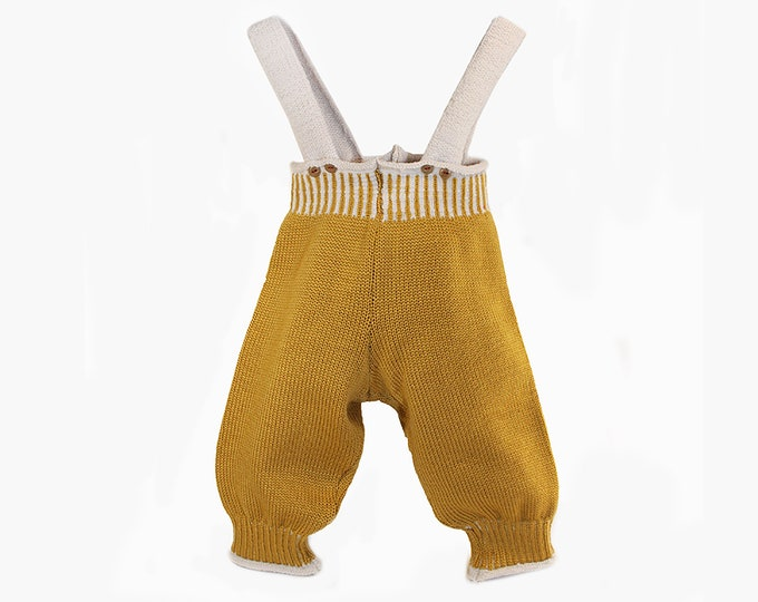 Featured listing image: Salopettes baby pants made of fine wool (merino)