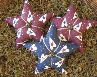 Set of 3 Primitive Grungy Patriotic Americana Star Ornie/Bowl Fillers