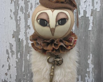 Prim Winter Valentine Owl E PATTERN Hand Painted Sculpted Face with Fur Body Make-Do