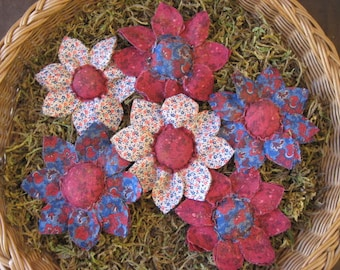 Set of 6 Primitive Grungy Americana Flower Ornie/Bowl Fillers