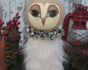 Small Prim Snow Owl E PATTERN with Hand Painted and Hand Stitched Sculpted Face with Fur Body