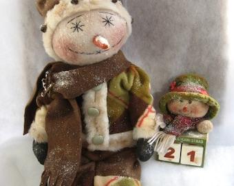 Primitive Snowman Doll Countdown to Christmas E-Pattern