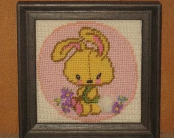 Vintage 1970's Crewel Embroidery Needlepoint Nursery Framed Adorable Bunny 6x6