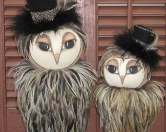 Prim Feathered Top Hat Owls E PATTERN
