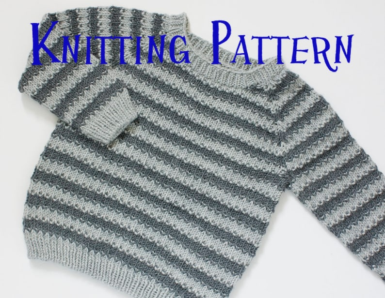60892634c1be PDF Knitting Pattern Texture   Stripes Pullover Age 1-10