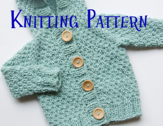 Pdf Knitting Pattern Hooded Cardigan Infant Sweater Baby Etsy