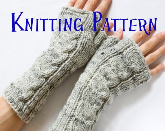 Instant Download Pdf Knitting Pattern Cabled Fingerless Etsy