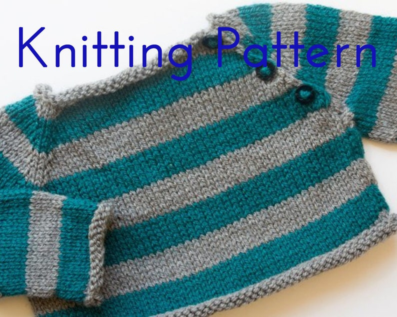 75371b3ca344 PDF Knitting Pattern Stripes Pullover Infant Sweater Baby