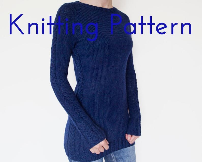 4bc501417289 PDF Knitting Pattern Cable Tunic Pullover Knitting Pattern