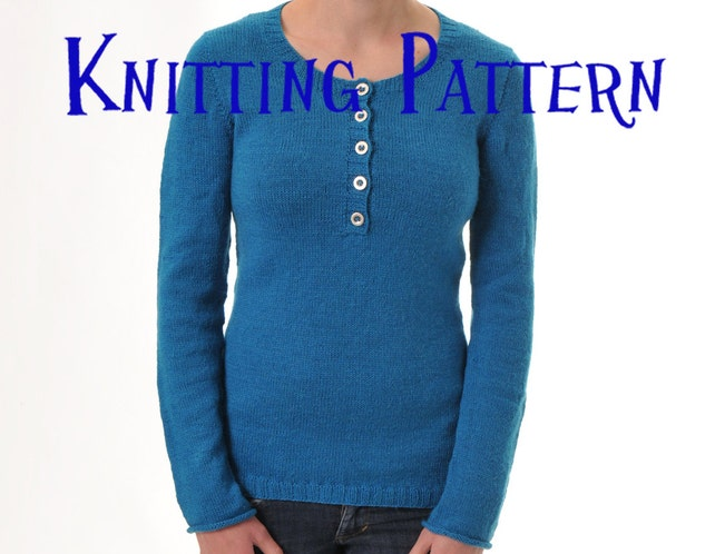 Pdf Knitting Pattern Henley Pullover Seamless Sweater Etsy
