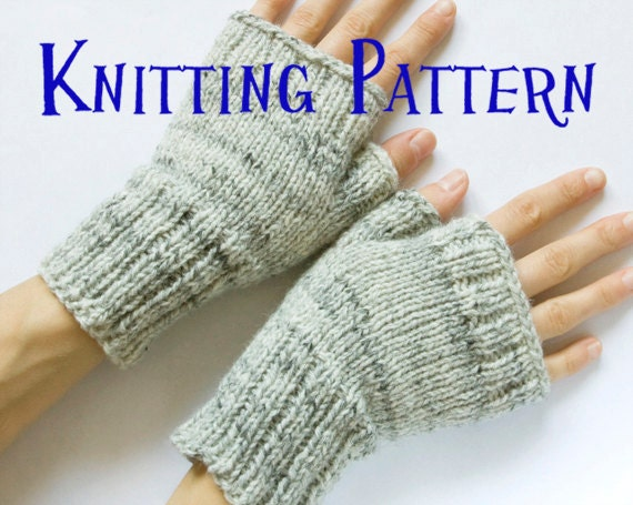 Instant Download Pdf Knitting Pattern Fingerless Mittens Etsy