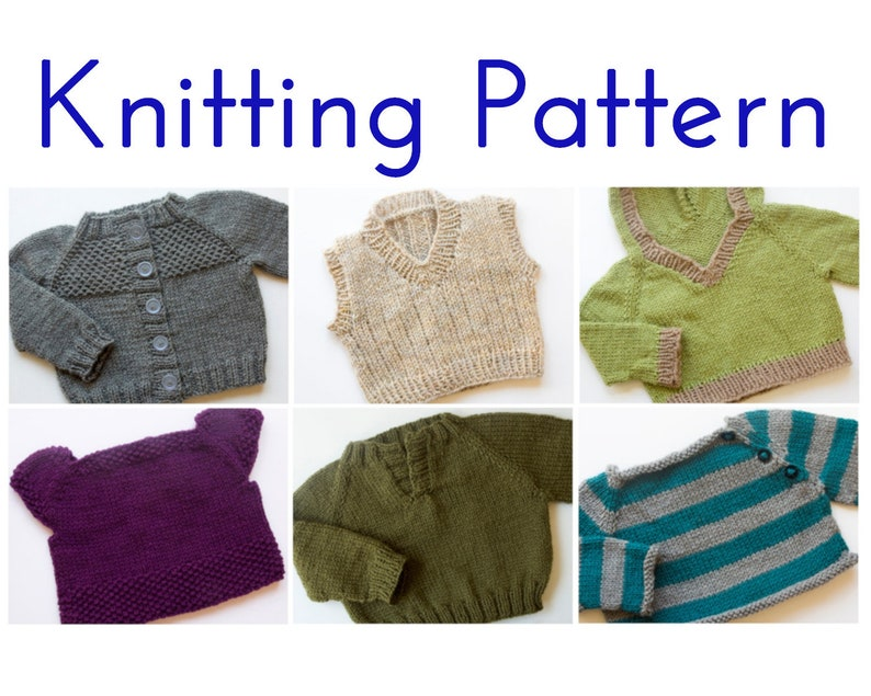 ec98b7cf1 PDF Knitting Pattern E-Book Six Baby Sweaters Pullover