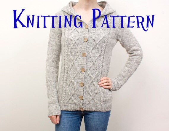 4ec699e32af01d PDF Knitting Pattern Grown up Silver Birch Cabled Hoodie