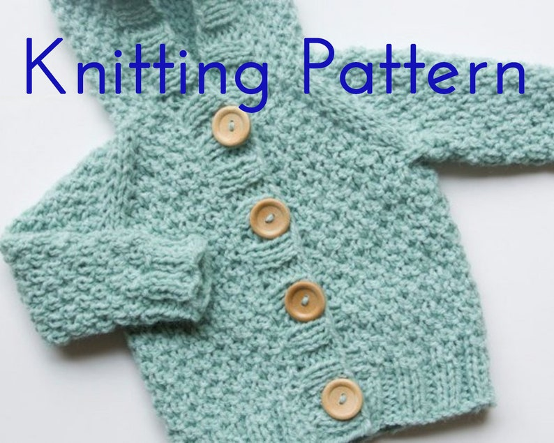 b3b33fbef PDF Knitting Pattern Hooded Cardigan Infant Sweater Baby