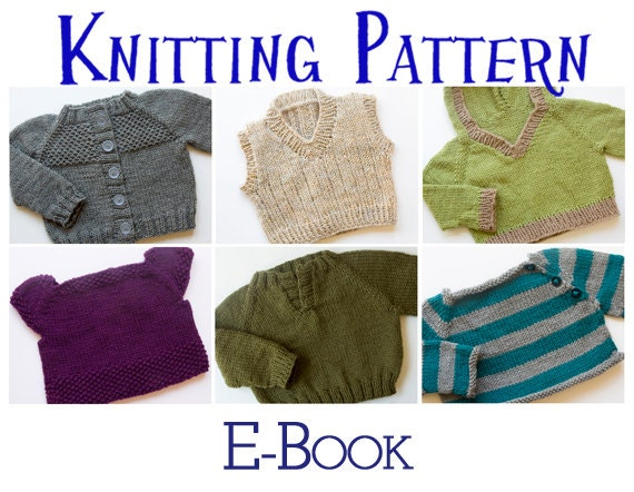 Pdf Knitting Pattern E Book Six Baby Sweaters Pullover Etsy