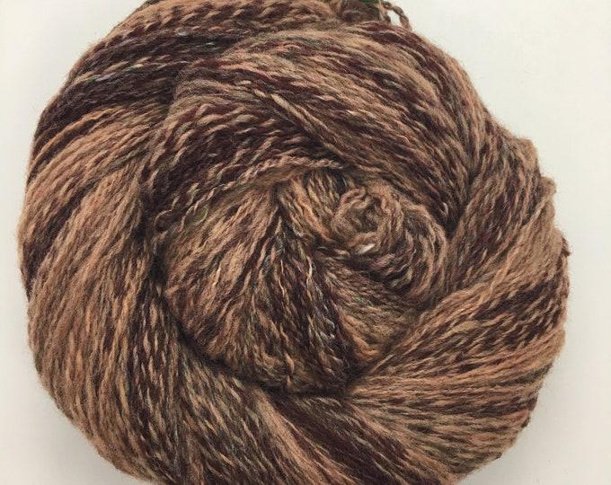 Soulful | handspun 2ply | hand-dyed merino | caramel and burgundy tones | 524 yard mega skein