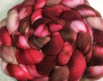 Superwash merino/nylon combed wool top | spinning fiber | handpainted | resists felting | red | bronze