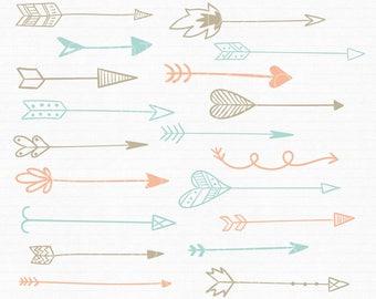 Pastel Arrow Clip Art - Tribal Hand Drawn Arrow Hearts Doodle Graphics Handdrawn Arrows Mega Pack - Commercial & Personal - Instant Download